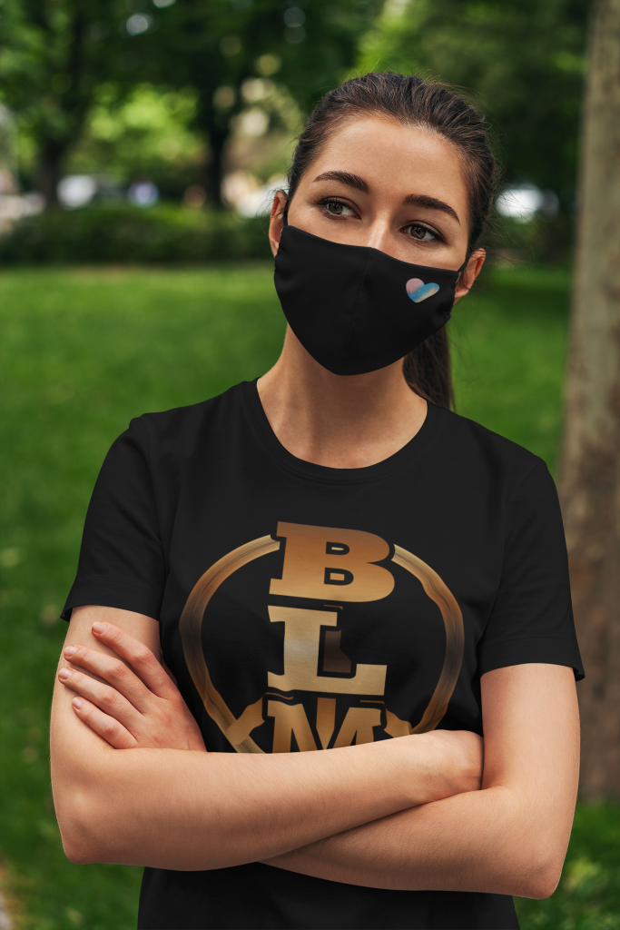 Black Lives Matter Logo T Shirt and Heart Face Mask
